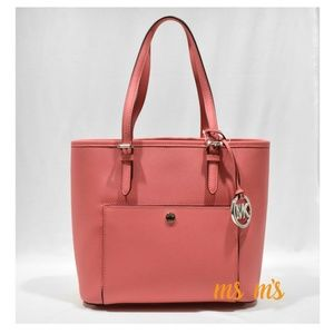 NWT Michael Kors MD coral Leather snap pocket tote